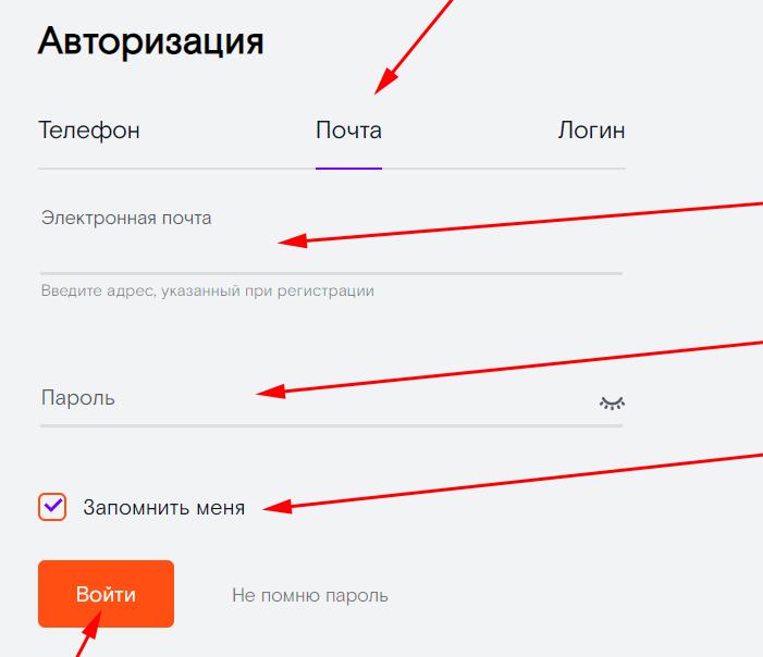 Вход в личный кабинет Ростелекома через электронную почту и пароль